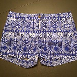 American Eagle Midi Size 14 Blue Tribal Shorts